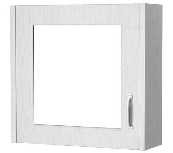 Premier York Porcelain White Ash 600mm 1 Door Mirror Cabinet