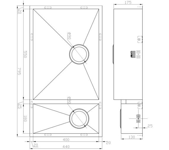 Technical drawing QS-V9116 / ZD/5518/U/S/BBL/028