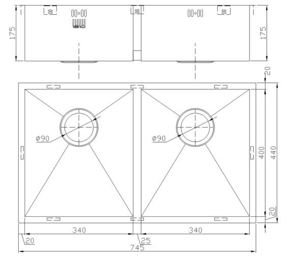 Technical drawing QS-V9118 / ZD/3434/U/S/075