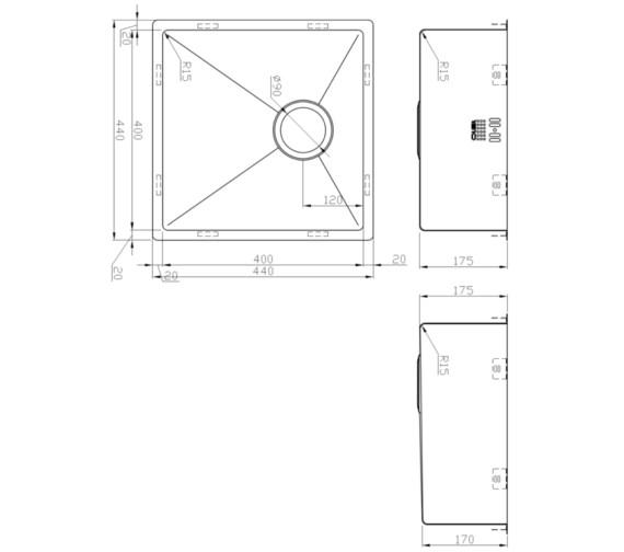 Alternate image of 1810 Company Zenuno15 200U 1 Bowl Kitchen Sink 240mm