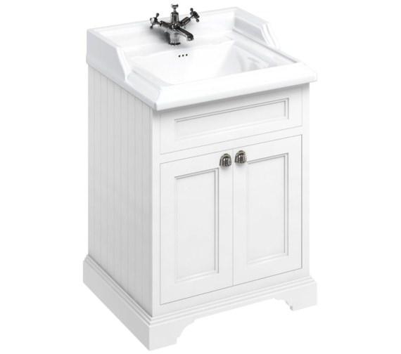 Burlington 650mm Freestanding Matt White Two Door Vanity Unit With Classic Basin