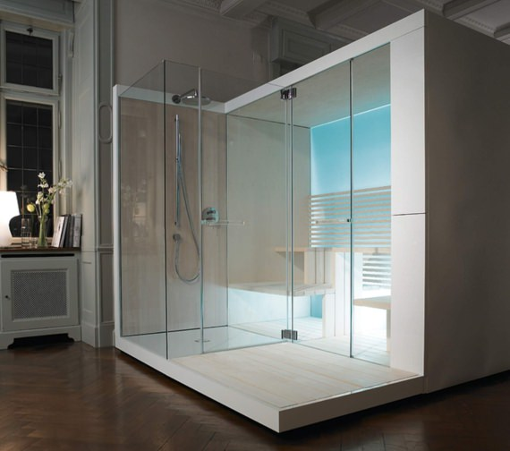 Alternate image of Duravit Inipi Ama Sauna 3350mm Back-To-Wall And Corner With Left Shower