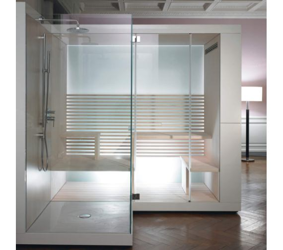 Duravit Inipi Ama Sauna 3350mm BTW - Corner With Left Shower And Antislip