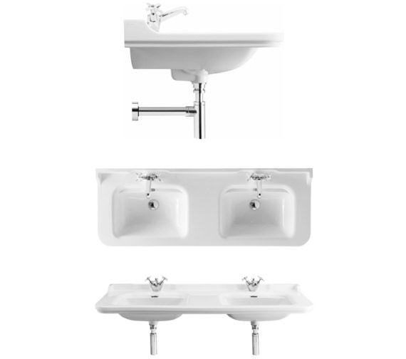 Alternate image of Bauhaus Waldorf 1500mm 3 Tap Hole Wall Hung Double Basin