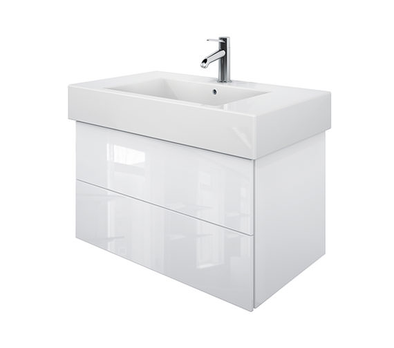 Duravit Delos 2 Drawers White High Gloss Unit With Vero 850mm Basin