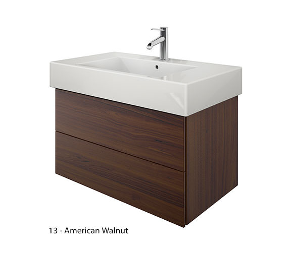 Additional image of Duravit Delos 2 Drawers Brushed Oak Unit With Vero 850mm Basin