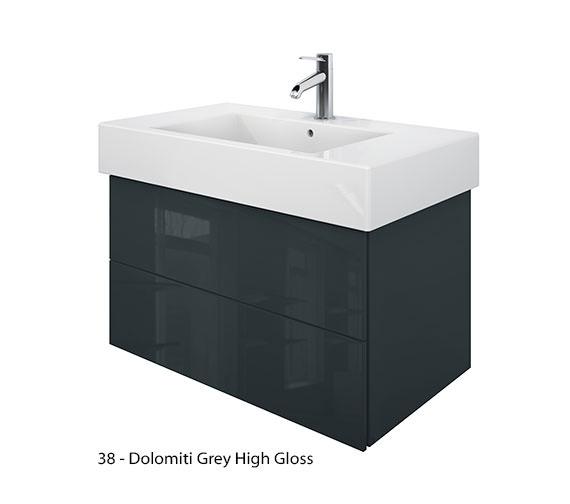 Alternate image of Duravit Delos 2 Drawers Jade High Gloss Unit With Vero 850mm Basin