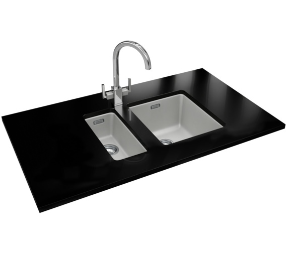 Franke Kubus DP KBG 110 16 + KBG 110 34 Fragranite Polar White Sink And Tap