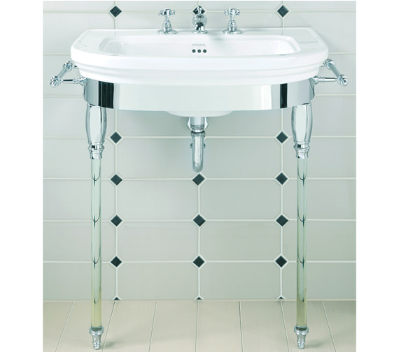Imperial Carlyon Large Basin Stand With Glass Legs And Basin 715mm