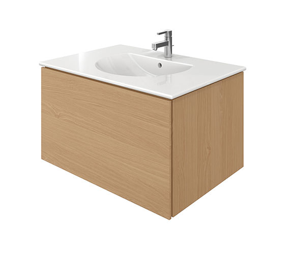 Duravit Delos 1 Compartment Brushed Oak Unit With Darling New 830mm Basin