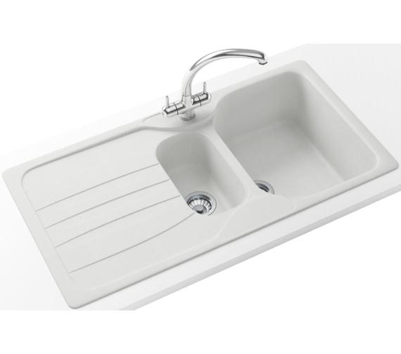 Franke Calypso Propack COG 651 Fragranite Polar White Kitchen Sink And Tap