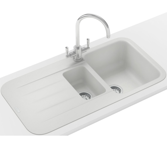 Franke Pebel Designer Pack PBG 651 Fragranite Polar White Inset Sink And Tap