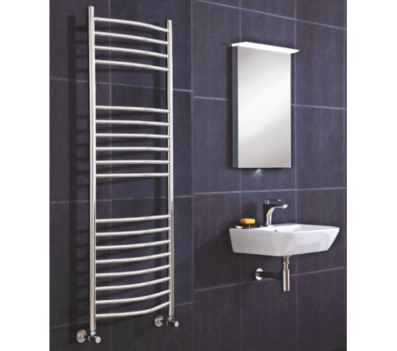 Phoenix Thame Curved 500 x 1500mm Polished Stainless Steel Radiator
