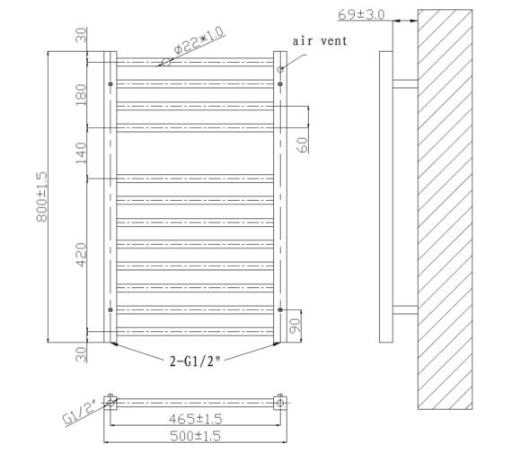 Technical drawing QS-V6590 / RA340