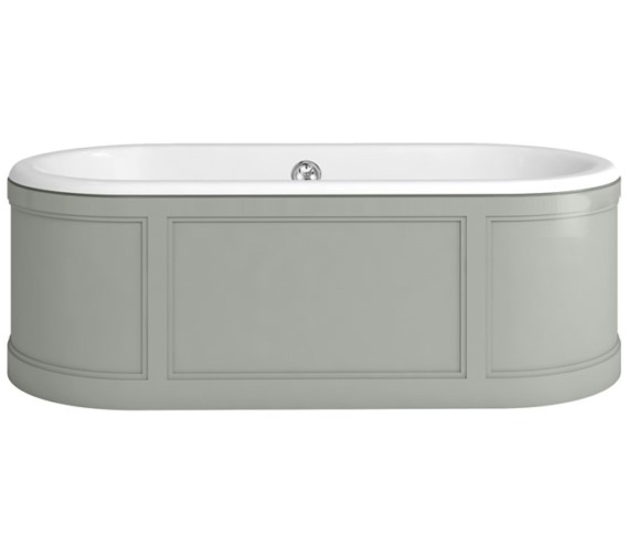 Burlington London 1800 x 850mm Bath With Dark Olive Curved Surround
