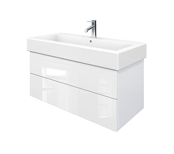 Duravit Delos 2 Drawers White High Gloss Unit With Vero 1000mm Basin