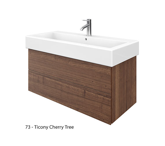 Additional image of Duravit Delos 2 Drawers White High Gloss Unit With Vero 1000mm Basin