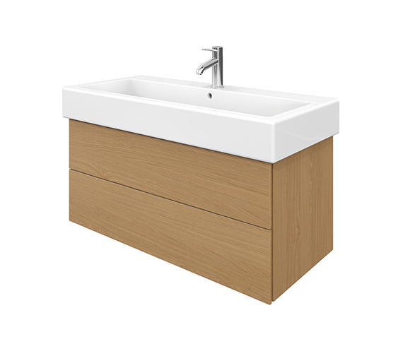 Duravit Delos 2 Drawers Brushed Oak Unit With Vero 1000mm Basin