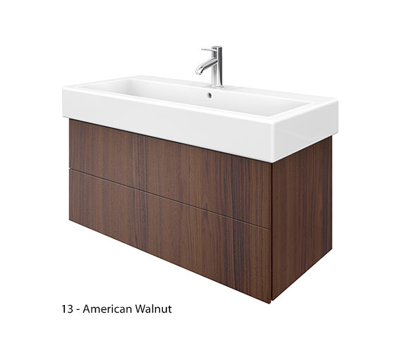 Additional image of Duravit Delos 2 Drawers Brushed Oak Unit With Vero 1000mm Basin
