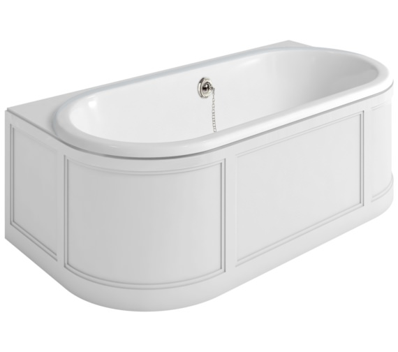 Burlington London 1800 x 950mm Back-To-Wall Bath With White Curved Surround