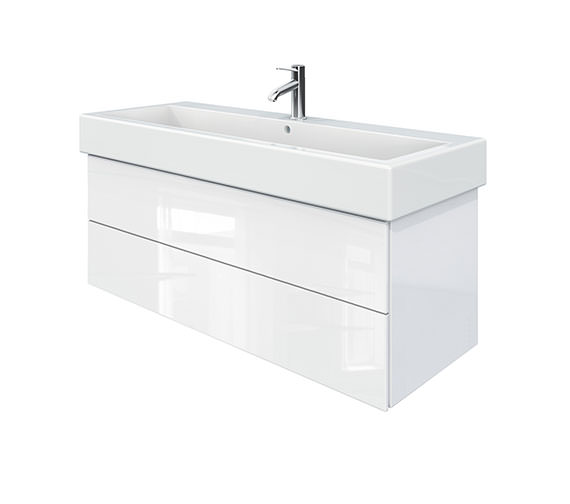 Duravit Delos 2 Drawers White High Gloss Unit With Vero 1200mm Basin
