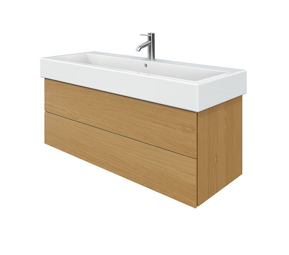 Duravit Delos 2 Drawers Brushed Oak Unit With Vero 1200mm Basin
