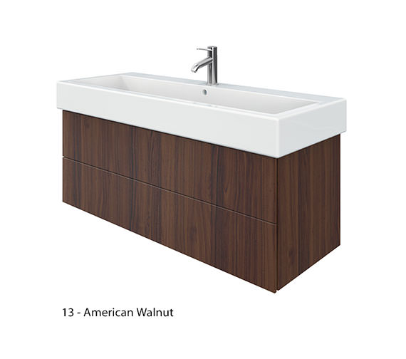 Additional image of Duravit Delos 2 Drawers Brushed Oak Unit With Vero 1200mm Basin