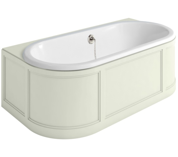 Burlington London 1800 x 950mm Back-To-Wall Bath With Sand Curved Surround