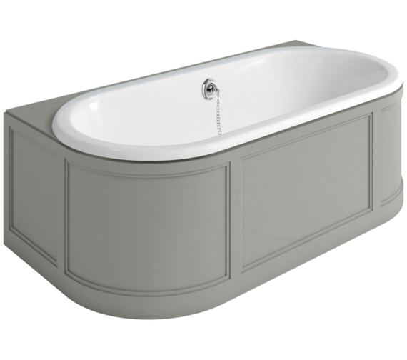 Burlington London 1800 x 950mm Back-To-Wall Bath With Olive Curved Surround