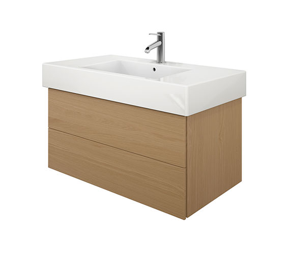 Duravit Delos 2 Drawers Brushed Oak Unit With Vero 1050mm Basin