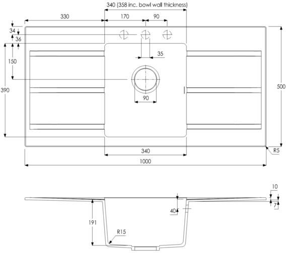 Technical drawing QS-V8697 / AW3108