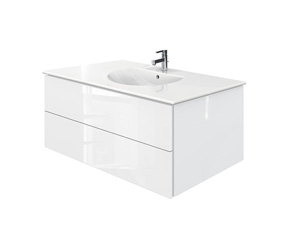 Duravit Delos 2 Drawers White High Gloss Unit With Darling New 1030mm Basin