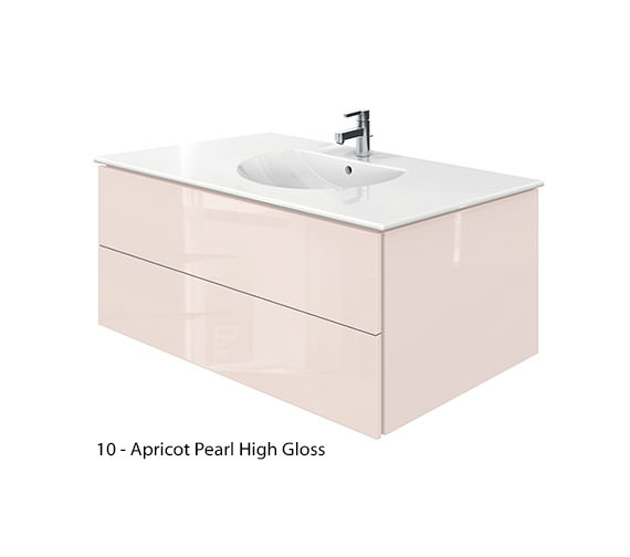 Additional image of Duravit Delos 2 Drawers Jade High Gloss Unit With Darling New 1030mm Basin