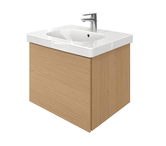 Duravit Delos 1 Compartment Unit With D-Code 650mm Basin - Brushed Oak