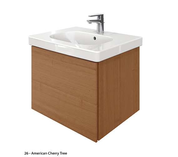 Additional image of Duravit Delos 1 Compartment Unit With D-Code 650mm Basin - Brushed Oak