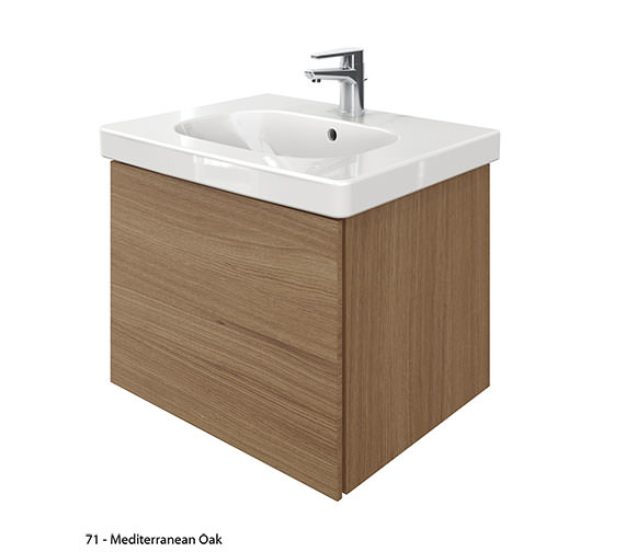 Alternate image of Duravit Delos 1 Compartment Unit With D-Code 650mm Basin - Brushed Oak