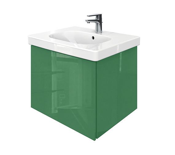 Duravit Delos 1 Compartment Unit With D-Code 650mm Basin - Jade High Gloss