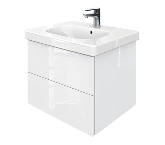 Duravit Delos 2 Drawers Unit With D-Code 650mm Basin - White High Gloss