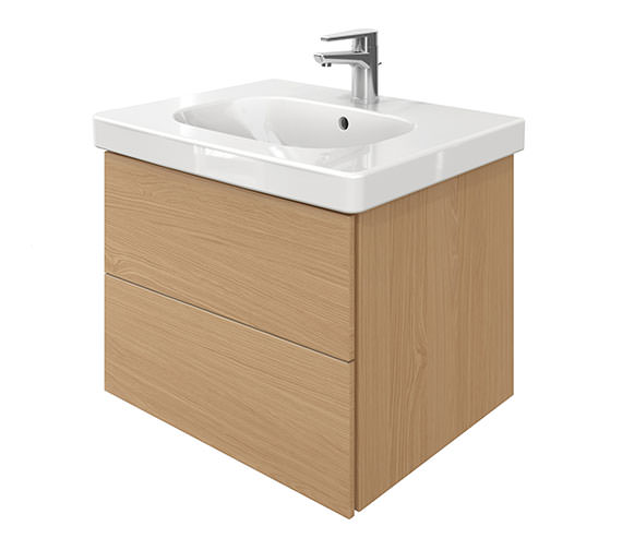 Duravit Delos 2 Drawers Unit With D-Code 650mm Basin - Brushed Oak