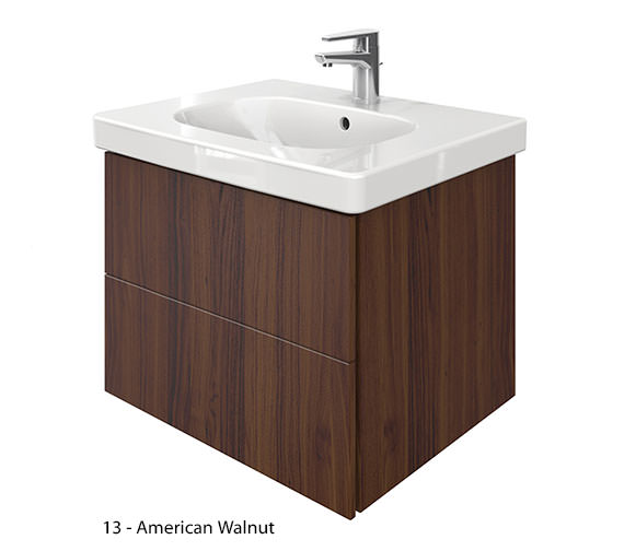 Additional image of Duravit Delos 2 Drawers Unit With D-Code 650mm Basin - Brushed Oak
