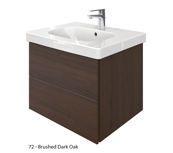 Alternate image of Duravit Delos 2 Drawers Unit With D-Code 650mm Basin - Brushed Oak