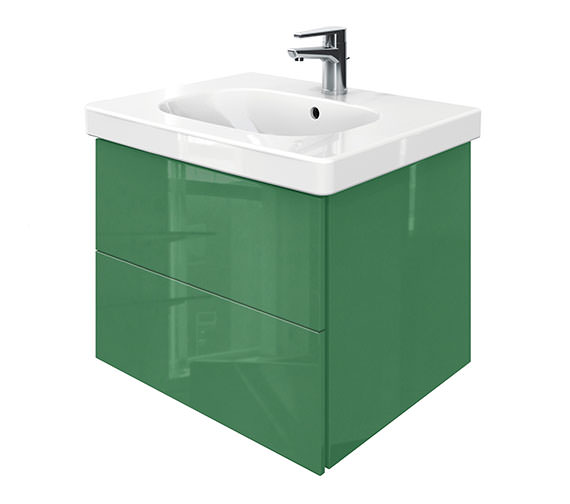Duravit Delos 2 Drawers Unit With D-Code 650mm Basin - Jade High Gloss