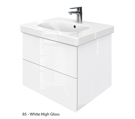 Alternate image of Duravit Delos 2 Drawers Unit With D-Code 650mm Basin - Jade High Gloss