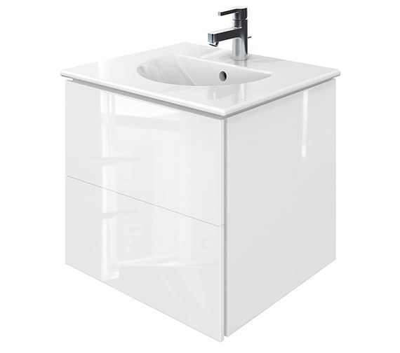 Duravit Delos 2 Drawers White High Gloss Unit With Darling New 530mm Basin