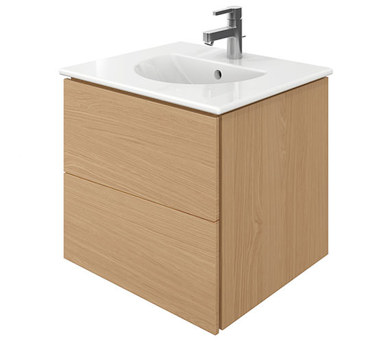 Duravit Delos 2 Drawers Brushed Oak Unit With Darling New 530mm Basin