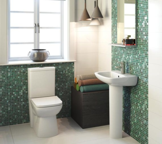 Nuie Ambrose Closed Coupled Compact Flush To Wall Toilet With Seat