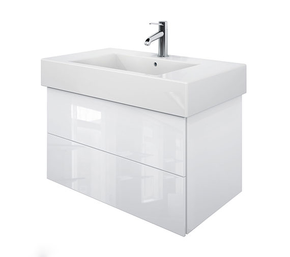 Duravit Delos 2 Drawers White High Gloss Unit With Vero 1250mm Basin