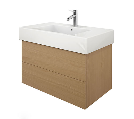 Duravit Delos 2 Drawers Brushed Oak Unit With Vero 1250mm Basin