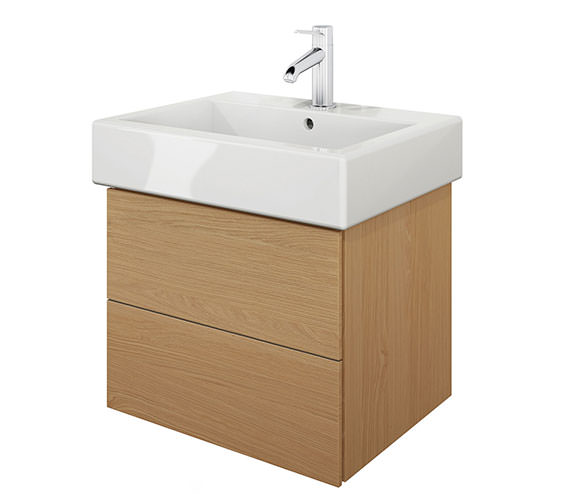 Duravit Delos 2 Drawers Brushed Oak Unit With Vero 500mm Basin