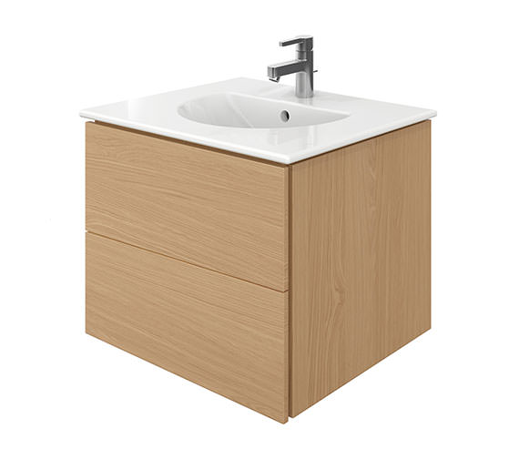 Duravit Delos 2 Drawers Brushed Oak Unit With Darling New 630mm Basin